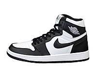 """Кроссовки кожаные женские высокие Nike Air Jordan """"Белые с черным"""" р. 36-40, фото 1"""