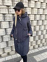 Женская куртка пальто пуховик классика без меха чёрный длинный с капюшоном не стёганный батал большого размера