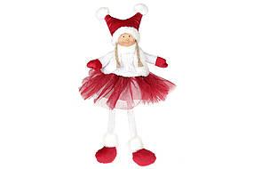 Мягкая игрушка Сидячая Девочка, 43см, цвет - бордо с белым (910-243)