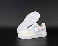 """Кроссовки женские кожаные  Nike Air Force """"Белые с цветными вставками"""" найк аир форс р. 36-40, фото 1"""