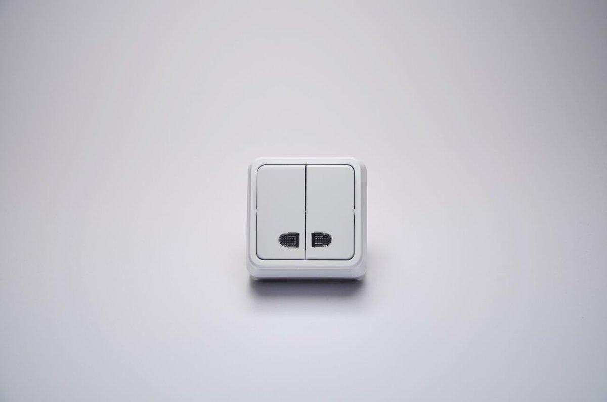Misya выключатель 2-ой с подсветкой наружный белый