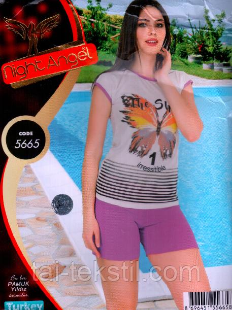 Пижама футболка с шортиками качество хлопок и лайкра Night Аngel № 5665