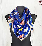 Шелковый платок Кошки 90*90 см синий