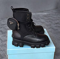 Ботинки женские Prada черные кожаные