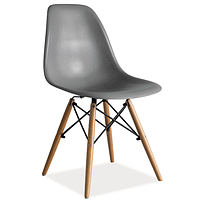 Стул жесткой посадкой из серого пластика Signal Enzo с буковыми ножками для столовой в скандинавском стиле