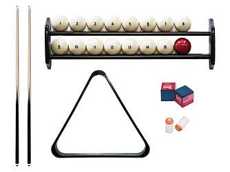 Комплект для игры в бильярд русскую пирамиду 9,10,11,12 футов Стандарт с полкой, шарами и треугольником