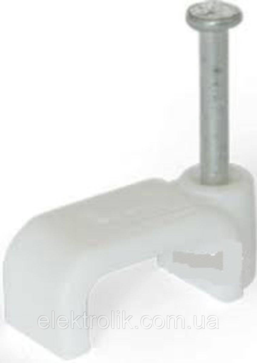 Кліпса Lectris 6x4мм для плаского кабелю з цвяхом, біла 100шт