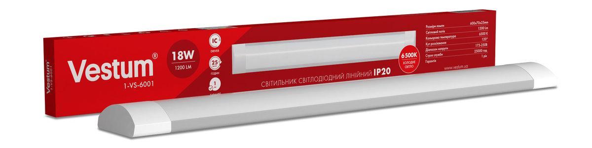 Светильник линейный LED Vestum 0,6м 18W 6500K 220V IP20