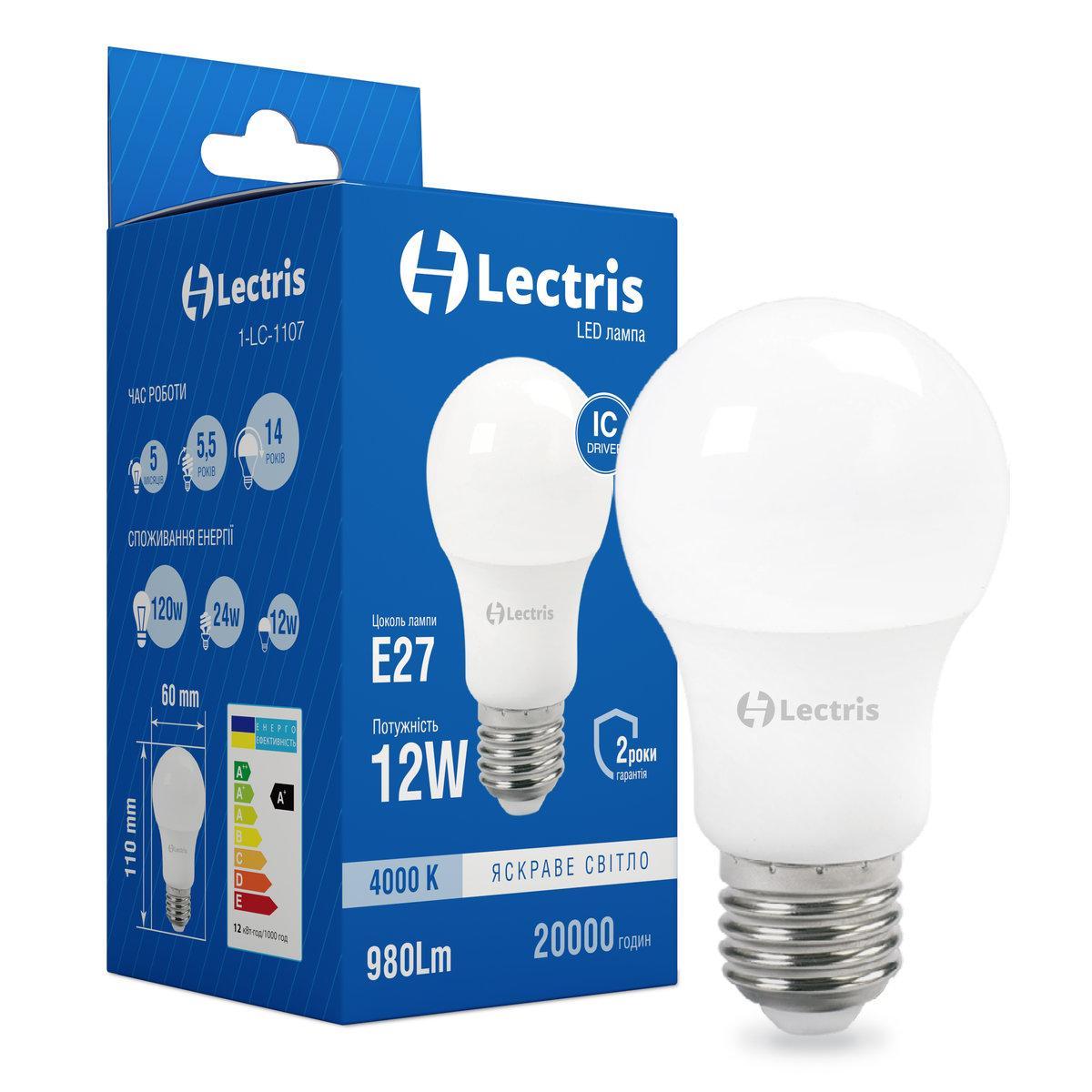 Лампа LED Lectris A60 12W 4000K 220V E27