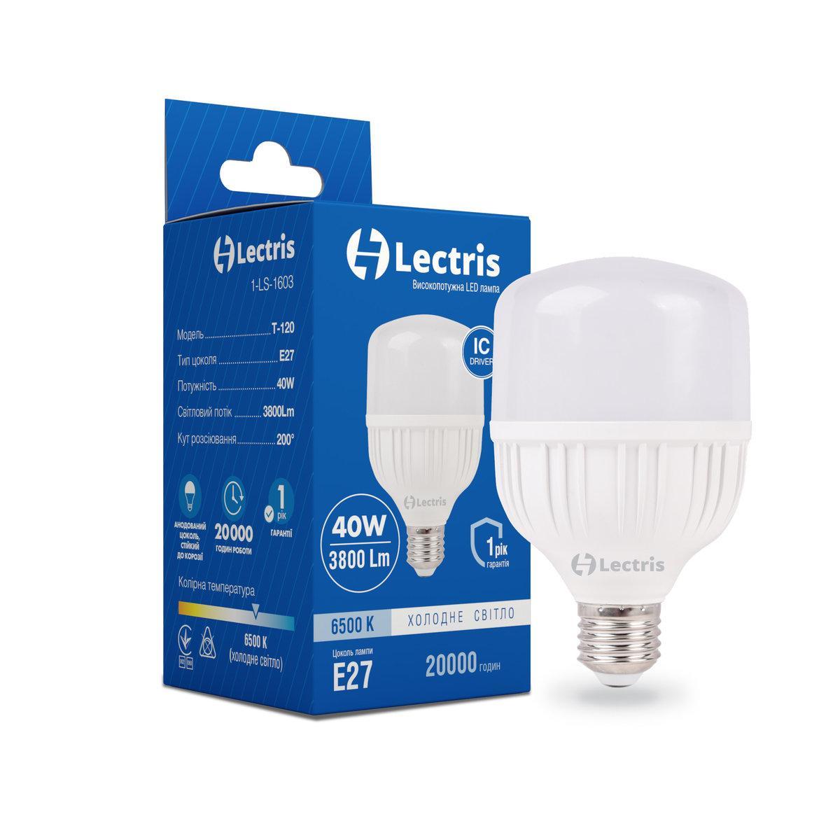 Лампа LEDT120 40W 6500K 220V E27 LECTRIS