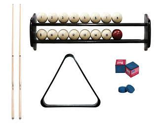 Комплект для игры в бильярд русскую пирамиду 6,7,8 футов Классик с шарами, полкой, киями, мелками