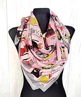 Шелковый платок Кошки 90*90 см пудровый