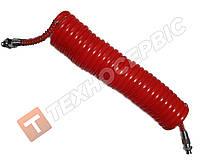 Шланг причепа спіральний червоний (М16х1.5) 7м Туреччина NAYA (РЕ) поліетилен