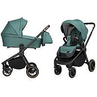 Универсальная детская коляска зеленая Carrello Epica 2 в 1 черная рама люлька прогулочный блок сумка дождевик