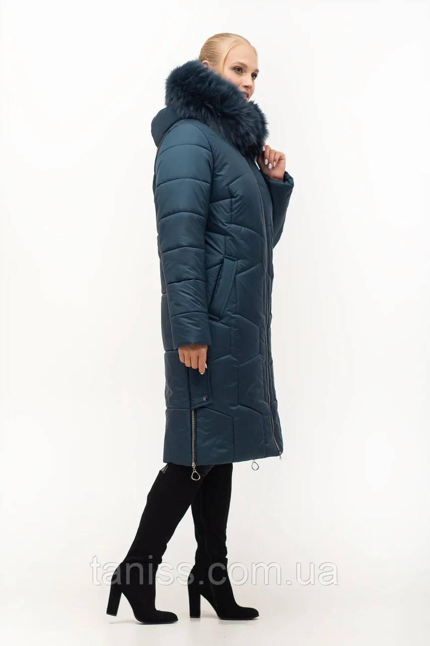 Женский зимний пуховик большого размера, капюшон вшитый, р-ры с 46 по 62, малахит песец (149)