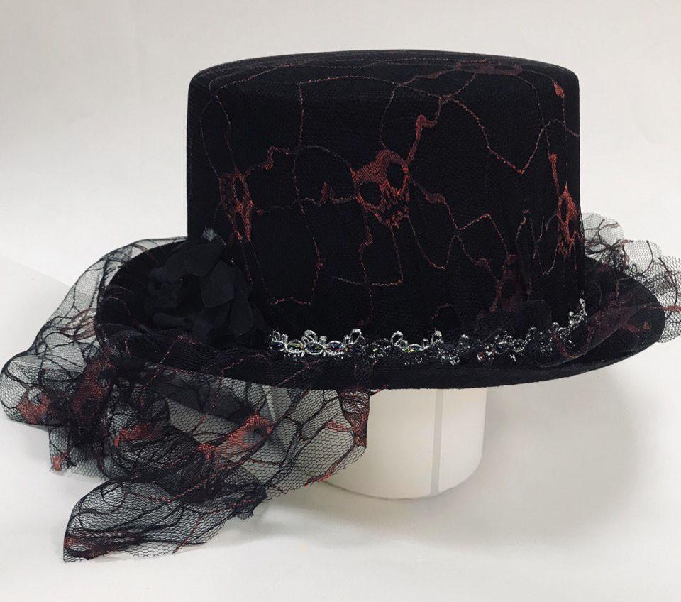 Карнавальная шляпа на Хэллоуин с вуалью