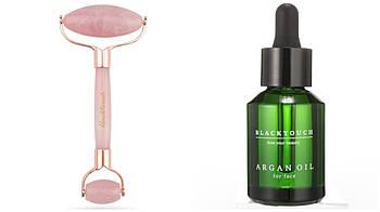 NEW Design Комплект Нефритовый Ролик из розового кварца + аргановое масло для лица, кварцевый настоящий камень