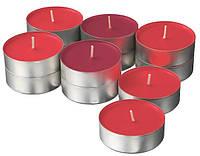 Свечи таблетки IKEA SINNLIG 12 шт х 9 часов горения чайные ароматические декоративные красные ИКЕА СІНЛІГ