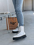 Женские осенние ботинки Dr. Martens Jadon (white/black),  ботинки женские Мартинс c молнией (Реплика ААА), фото 9