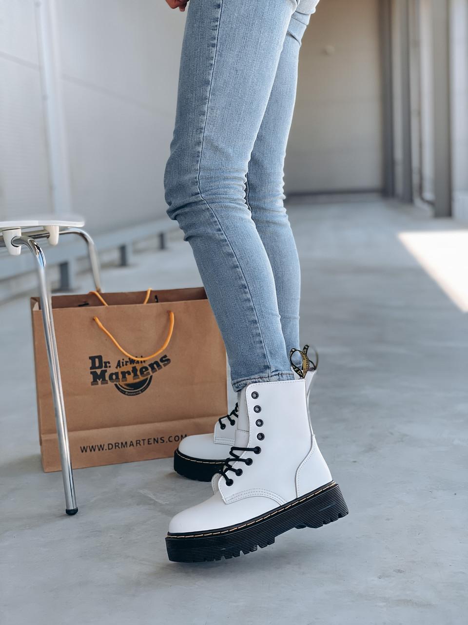 Женские осенние ботинки Dr. Martens Jadon (white/black),  ботинки женские Мартинс c молнией (Реплика ААА)