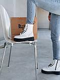 Женские осенние ботинки Dr. Martens Jadon (white/black),  ботинки женские Мартинс c молнией (Реплика ААА), фото 3