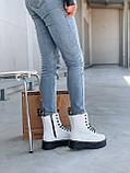 Женские осенние ботинки Dr. Martens Jadon (white/black),  ботинки женские Мартинс c молнией (Реплика ААА), фото 7