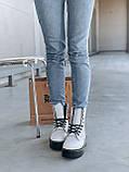 Женские осенние ботинки Dr. Martens Jadon (white/black),  ботинки женские Мартинс c молнией (Реплика ААА), фото 6