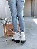 Женские осенние ботинки Dr. Martens Jadon (white/black),  ботинки женские Мартинс c молнией (Реплика ААА), фото 4