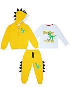 Костюм спортивный на флисе (брюки, реглан, кофта) динозавр