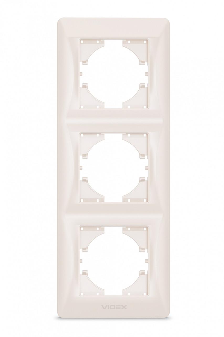 VIDEX BINERA Рамка кремовая 3 поста вертикальная (VF-BNFR3V-CR) 24688