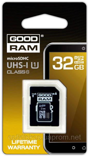Карта памяти GoodRAM Micro SDHC 32GB class 10 + SD adapt.