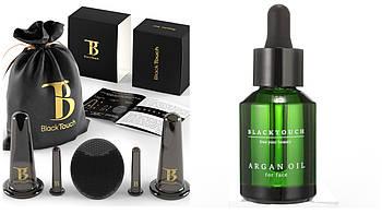 Комплект 100% pure аргановое масло и вакуумные силиконовые баночки для массажа лица + массажер , банки вакуум