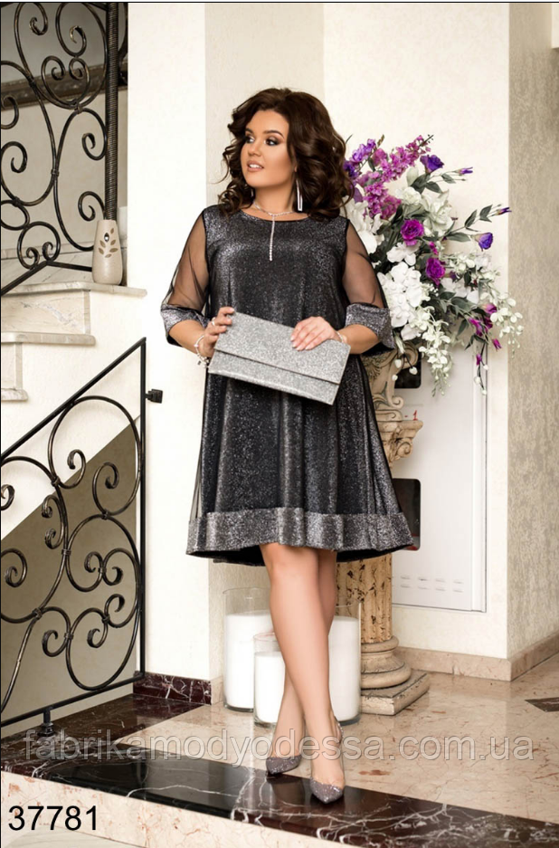 Нарядное платье цвет серый в большом размере Украина Минова Размеры: 50-52, 54-56, 58-60.