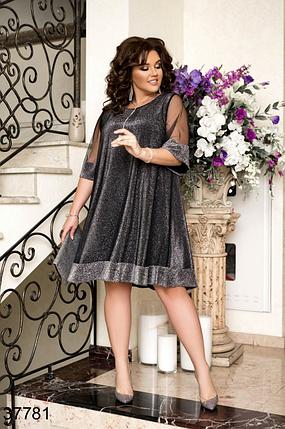 Нарядное платье цвет серый в большом размере Украина Минова Размеры: 50-52, 54-56, 58-60., фото 2