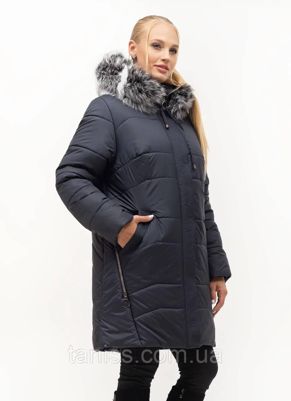 Женский зимний пуховик большого размера, капюшон съемный, р-ры с 54-70, синий чбк (154)