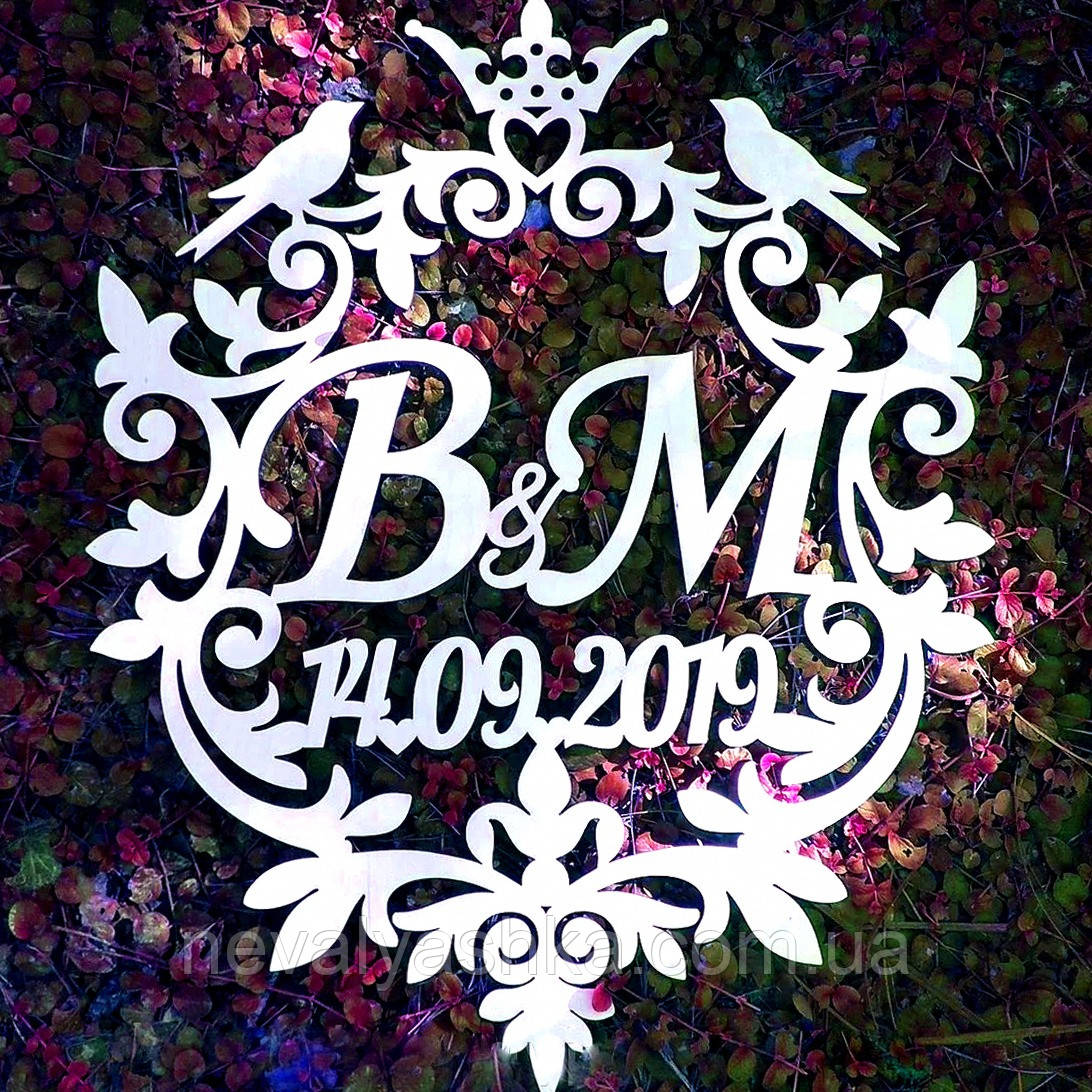 Фамильный Герб с Птичками Белый 60х50см Свадебные Инициалы, деревянная монограмма, семейный герб на свадьбу