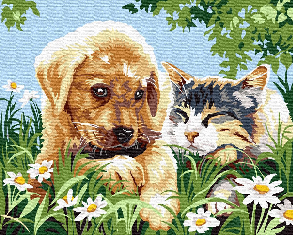 Картина по номерам GX29694 Друзья в саду 40х50см. Brushme