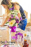 Свадебная ваза с живыми цветами