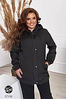 Женская куртка-ветровка черного цвета с капюшоном. Модель 27108. Размеры 48-66, фото 1