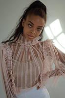 Женская ажурная блузка розовая