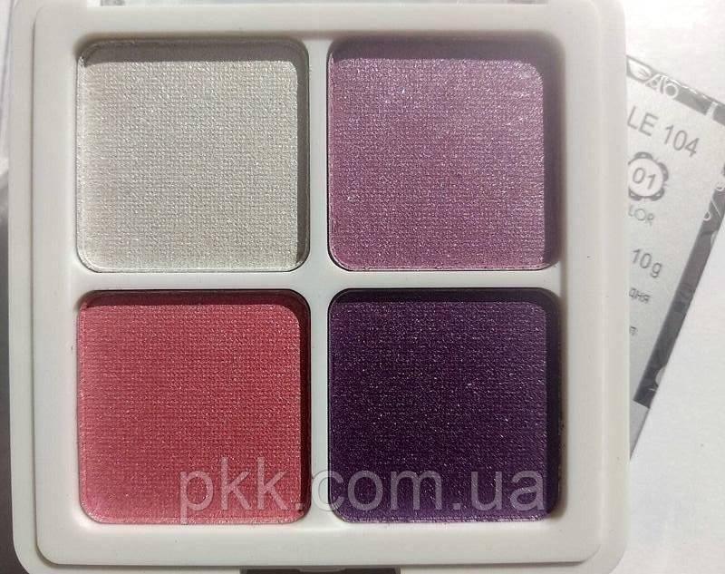 Тени-глитттеры для век La Rosa Eye Shadow Professional Makeup 3D перламутровые 4 цветa 104-LE 1 Розово-сиренев