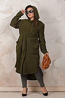 Женский длинный теплый кардиган на флисе цвета хаки, с капюшоном, пальто женское, (батал) большие размеры