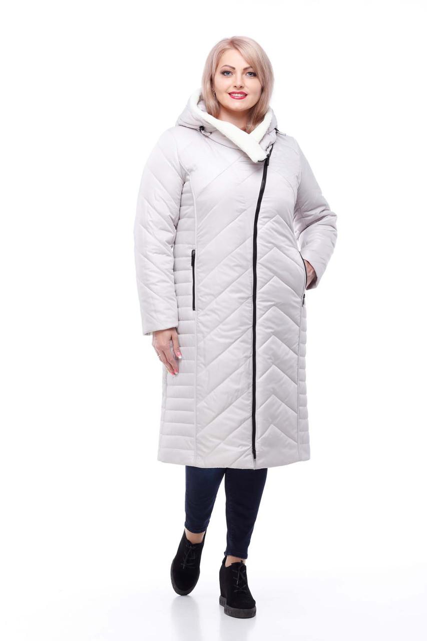 Длинный зимний пуховик Мира Зима большие размеры с мехом на капюшоне  размеры 50