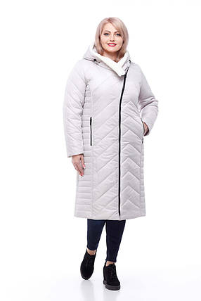 Длинный зимний пуховик Мира Зима большие размеры с мехом на капюшоне  размеры 50, фото 2