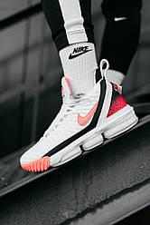 Мужские кроссовки Nike LeBrone 16 White Pinck (белые)