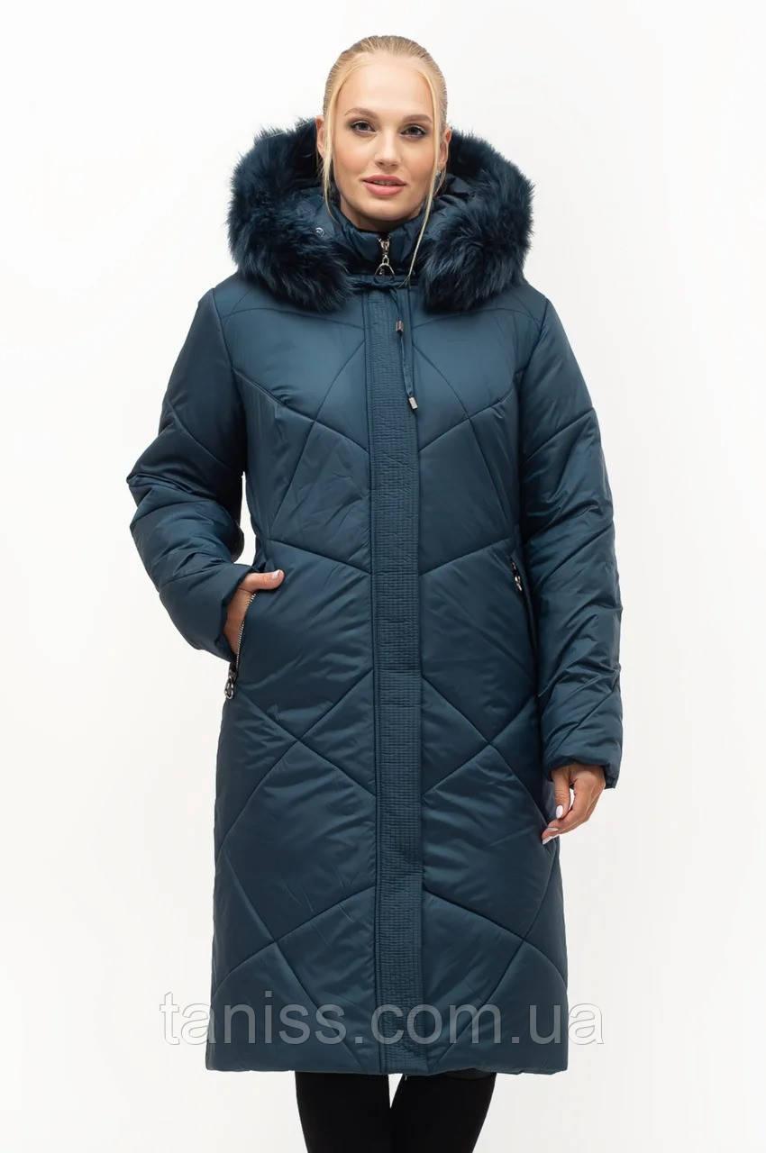 Женский зимний пуховик большого размера, капюшон съемный, р-ры с 52 по 70,малахит песец(150)