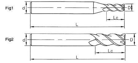 Ø1,5*5*4*50*3FA Фреза твердосплавна кінцева для обробки алюмінію(45HRC), фото 2