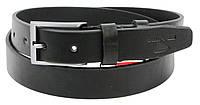 Мужской кожаный ремень под брюки Skipper 1266-33 черный 3,3 см, фото 1