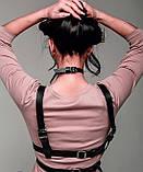Сексуальная женская портупея на грудь и талию из искусственной кожи. Эко кожа, фото 3