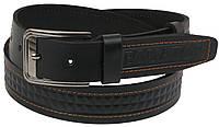 Мужской кожаный ремень под джинсы Skipper 1120-38 черный ДхШ: 124х3,8 см., фото 1